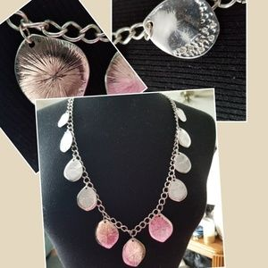 Long Silverstoned necklace with flat disks